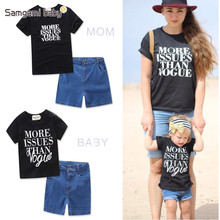 SAMGAMI BABY Parents and Children Fashion Family Matching Cotton Short Sleeved T-shirt + Denim Shorts 2pcs Mother and Child's(China)