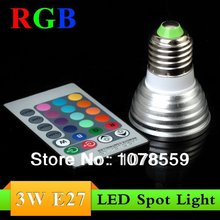 Wholesale 10Pcs 3W RGB LED Spot Lighting E27 16 colour High Tech LED Lamp Spot light + IR remote control Free shipping