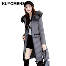 KUYOMENS Large Fur Collar Ladies Coats Snow Wear 2017 Winter Coat Women Parka Long Slim Womens Jackets And Coats Outerweare(China)