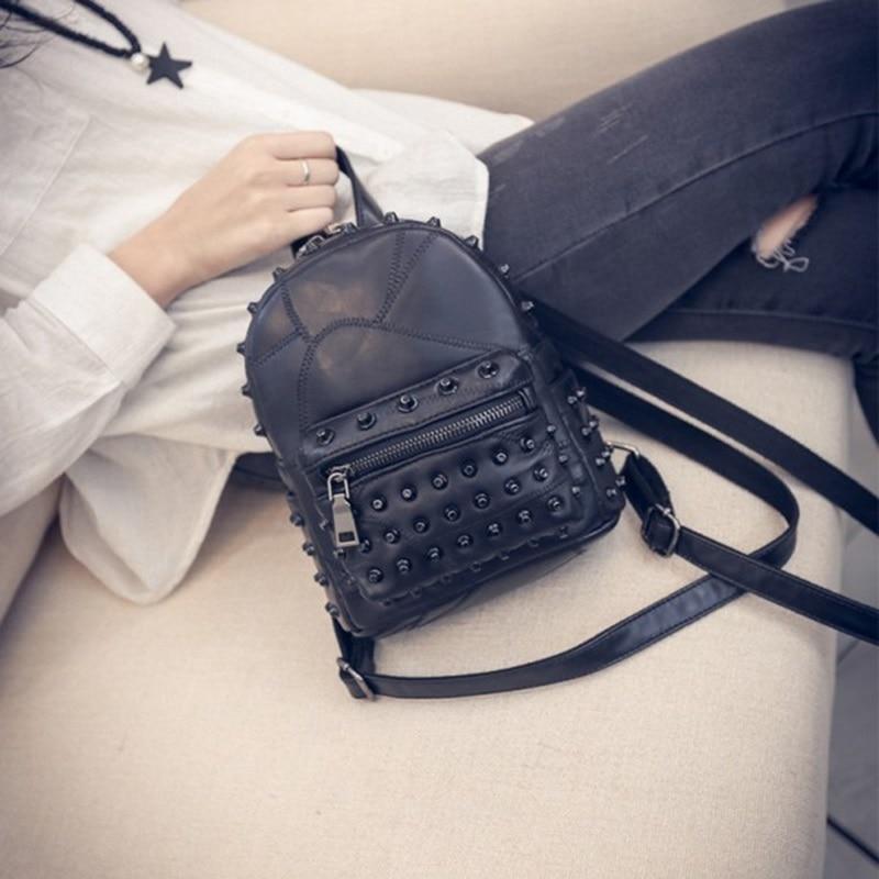 LEFTSIDE 2017 Rivets Black Mini Backpacks for womens Ladys Back packs PU Leather Bags Fashion Travel Bag For High School girls<br><br>Aliexpress