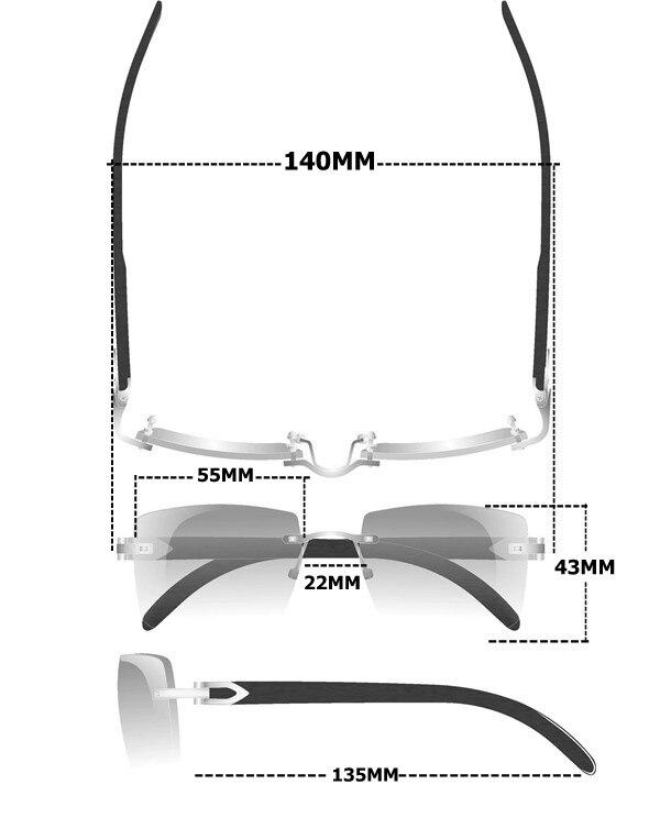 Cartier 7550178 Black Buffalo Horn Sunglasses 55-