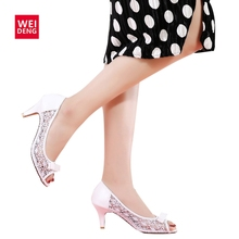 Retro Women Lovely Pump Genuine Leather High Heel Hollow Casual Party Dance Office Lady OL Peep Toe Butterfly Knot Shoe