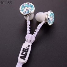 MLLSE Anime Hatsune Miku Snow Zipper Earphone AUX Wired Stereo In-ear Earbuds Earphones Music Game Headset for Iphone Samsung PC(China)