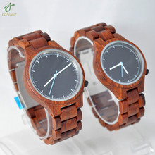 Dropshipping Red Sandalwood Modern Men&Women Solid Red Natural Wooded Watch with box Male Relogio Masculino DeLux Gift A Pair
