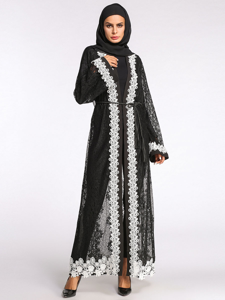 Compre Elegante Bordado Musulmán Abaya Encaje Maxi Vestido Cardigan ...