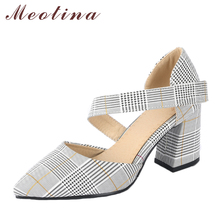 Buy Meotina Women High Heels Pointed Toe Party Shoes Plaid Thick Heel Pumps Footwear Elegant Shoes New 2018 Fashion Large Size 33-46 for $22.98 in AliExpress store