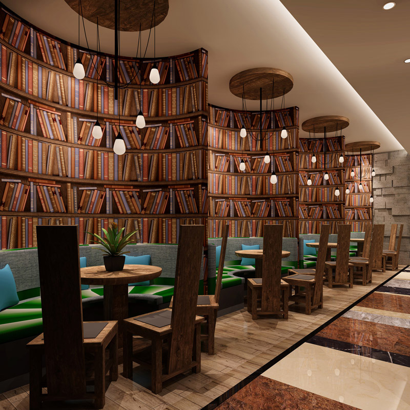 3D Creative Bookshelf Non Woven Wallpaper Library Study Cafe Background Vintage Wall Papers Roll For Walls 3 D Papel De Parede<br>