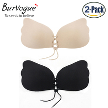 2 Pcs Women Sexy Push Up Invisible Strapless Bra Adhesive Silicone Bust Front Bra Backless Fly Bra Underwear E F G Bra(China)
