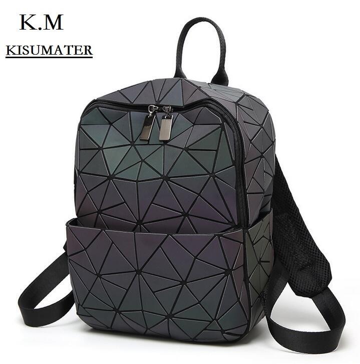 KISUMATER Hot New Backpacks Women Baobao Geometry  Luminous Bag Sequins Folding baobao backpack Students School Bags<br>