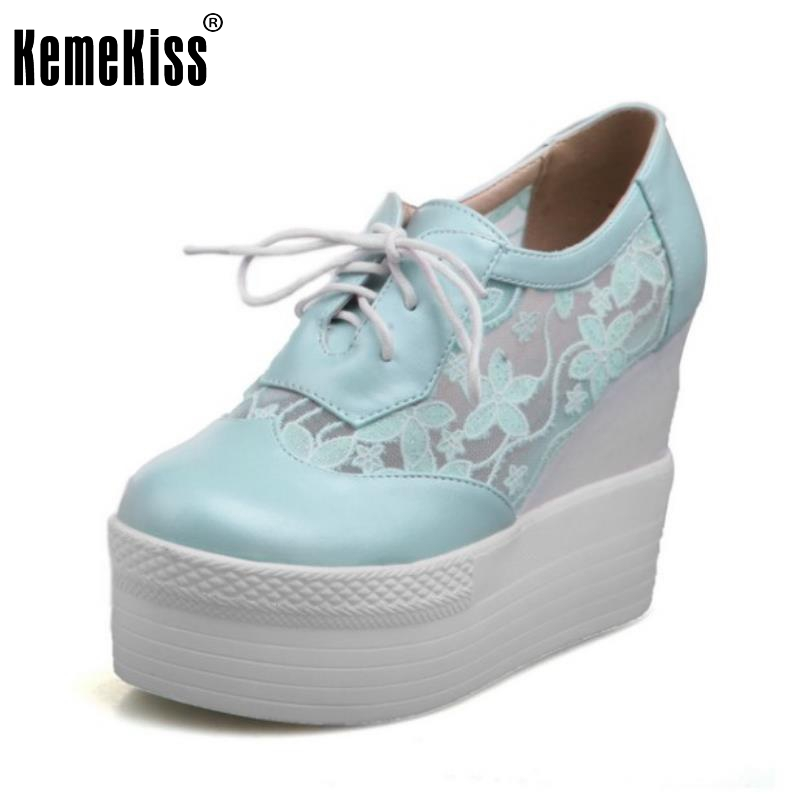 Size 32-43 Womens High Heel Shoes Women Wedge Cross Strap Platform Pumps Fashion Ladies Round Toe Lace Trifle Casual Shoes<br>