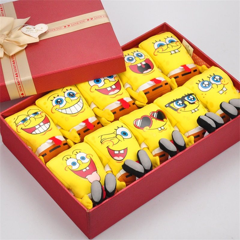 16cm spongebob gift box plush toy soft anime nanoparticle doll for kids toys cartoon figure Creative valentines day gifts<br>
