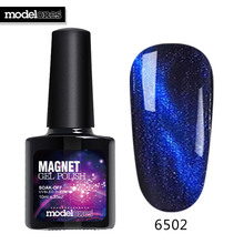 Modelones 10ML Magnet Cat Eyes Top Coat Chameleon Magnetic Effect Nail Top Coat UV Nail Polish Soak Off 5 Colors Led Nail Coat(China)