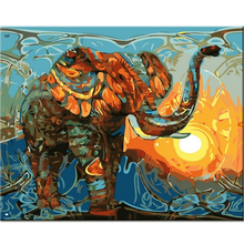 Hand Painted Mascot Elephant Painting for Wall Room Decor By Numbers Digital Landscape Oil Painting on Canvas Animals Art(China)