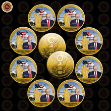 10pcs 2016 Make America Great Again Challenge Coins Gold Plated US 45th President Donald Trump Coin