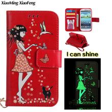 For Hoesje Samsung Galaxy S3 Cover Flip Case Samsung Galaxy S3 Phone Cover Luminous girls Leather Wallet For Samsung S3 Neo Case(China)