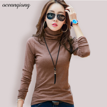 Buy 2017 T Shirt Women Long Sleeve Autumn Winter Slim Fit Casual Cotton Turtleneck Basic Tops Tee Solid T-shirt Plus Size Thicken for $11.19 in AliExpress store