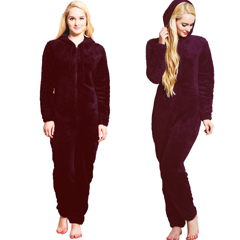 Winter Warm Pajamas, Women's Sleepwear Fleece Pajamas Set, Lounge Hooded Pajamas 11