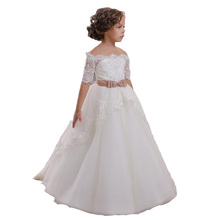 White Ivory Lace Flower Girls Dresses With Belt Floor Length Girls First Communion Dress Princess Girl Dress