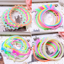 2017 Lovely Silicone Luminous Bracelet Hair Rope Night Glowing Fluorescent Rubber Band Wristband Kids Girls Party Decoration(China)