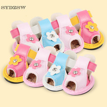 SYDZSW Petshop Dog Shoes Pet Candy Color PU Leather Boots Protective for Small Dogs Chihuahua One Diamond Sandal Dog Products(China)