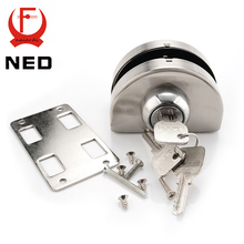 NED Single Glass Door Lock 304 Stainless Steel Double Open Frameless Door Latches Hasps For 10-12mm Thickness Furniture Hardware