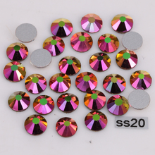 1440pcs/Lot, High Quality ss20 (4.8-5.0mm) Rainbow-Rose-Gold Glue On Flat Back Crystals / Non Hotfix Rhinestones(China)