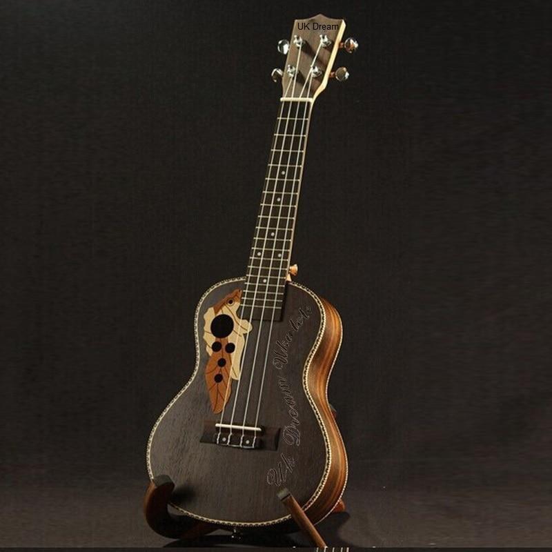 New full all Rosewood Ukulele Concert Ukulele small guitar 23 Black Hawaii Small Guitar Musical Instruments<br>