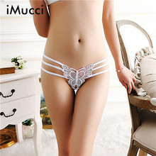 Buy iMucci Sexy Cotton Cute Butterfly Women's Panties Solid Women Underwear Thongs Hollow Temptation Lace Thong Women G String