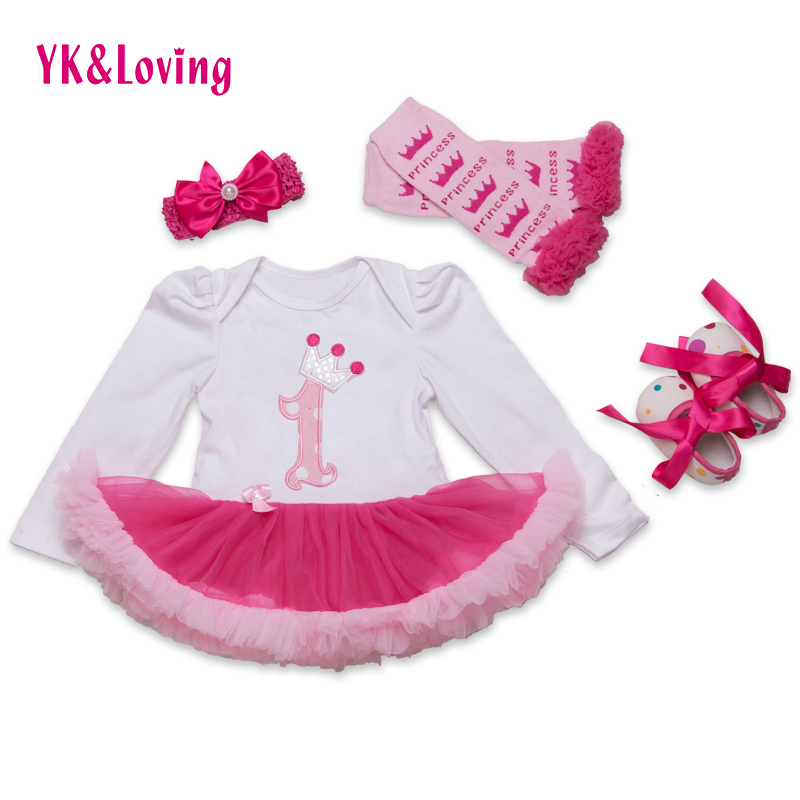 Baby Girl 4pcs Clothing Sets Long Sleeve Cotton Rose Red Tutu Romper Dress/Jumpsuit Infant Christmas Birthday Costumes Clothes<br><br>Aliexpress
