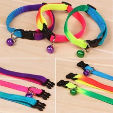 New Rainbow Color Puppy Pet Dog Adjustable Leads Leash Cat Bell Collar Necklace Dogs Collars Leads with Bell