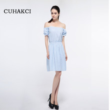 Fashion Vertical Stripe Off The Shoulder Elastic Waist Puff Sleeve Dress Women 2017 Summer Brief Vestido Strapless Dresses S354