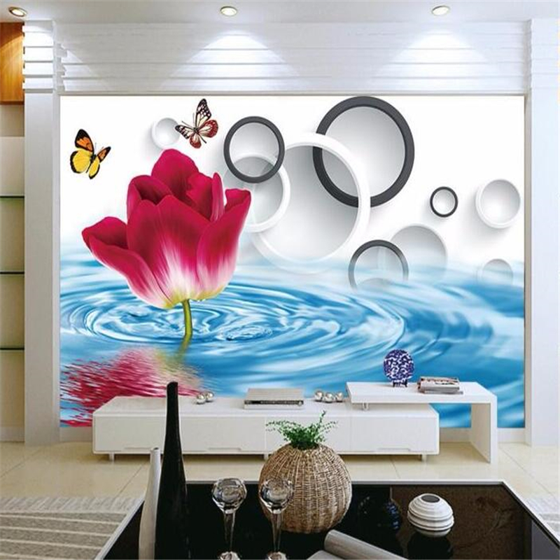 The mural on the wall the water rose wallpaper photo large murals murals 3 d sitting room sofa background wallpaper 3d wallpaper<br><br>Aliexpress