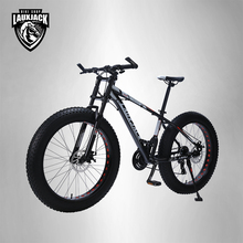 "LAUXJACK Mountain bike aluminum frame 24 speed Shimano mechanical brakes 26 ""x4.0 wheels long fork FatBike"