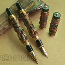 2 PCS JINHAO TWO DRAGON PLAY PEARL COPPER 0.7mm BROAD NIB FOUNTAIN PEN + ROLLER BALL PEN SET