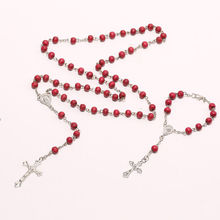 Christ Religious Red Wooden Rosary Beads Chain Cross Necklace Bracelet Jewelry