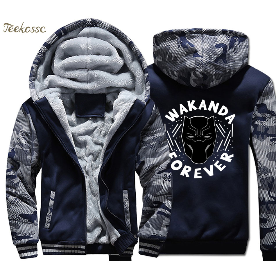 Black Panther Wakanda Hoodie Coat Men Killmonger Hooded Sweatshirt Winter Fleece Thick Movie Jacket Camouflage Sportswear Youth