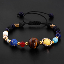 Universe Galaxy the Eight Planets in the Solar System Guardian Star Natural Stone Beads Bracelet Bangle for Women Men Friendship