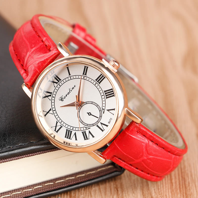 Elegant Womens Rose Golden Case Roman Number Dial Cassial Dress Watches with Red Leather Band Best Gift<br><br>Aliexpress