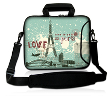 "Laptop Sling Carring Package Love In Paris Model 10""13""14""15""17"" Neoprene Notebook Shoulder Handle Portable Cover Case For IBM(China)"
