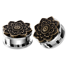 2Pcs Ear Plugs Tunnel Stainless Steel Piercing Lotus Antique Bronze Flower Ear Expander Stretcher Flesh Tunnel Body Jewelry(China)