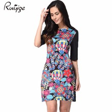 RUIYIGE 2017 fashion short mini print character casual work new plus size sexy holiday evening day slim fit ladies bodycon dress