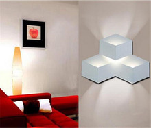 creative 3D children bedroom novelty wall lamp 3/9/15 w square wall decoration lamp for living room TV background lamp A037(China)