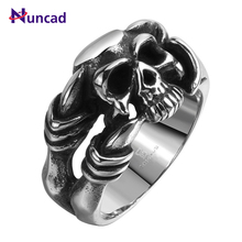 1 PC Funny Skeleton Punk Rings aneis masculino Stainless Steel Rings For Men Skull Fashion Rock Bar Ring Hot Individual Gift