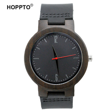 HOPPTO Brand Hand Made Bamboo Wood Unisex Fashion Silver Scale Genuine Leather Mens Wooden Quartz Watch Made by Black Sandalwood