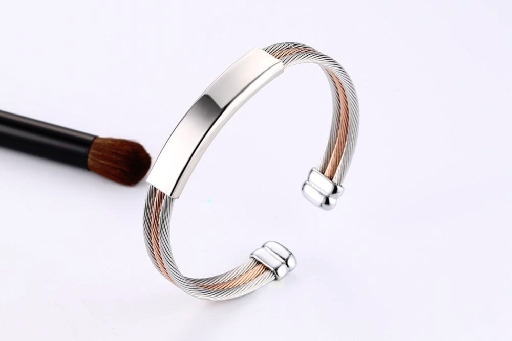 Free engraving Men Women Bracelets Stainless Steel Triple Color Cable Wire Twisted ID Tag  Open Cuff Bangle Bracelet Men Fashion Jewelry pulseira masculina SILVER 17
