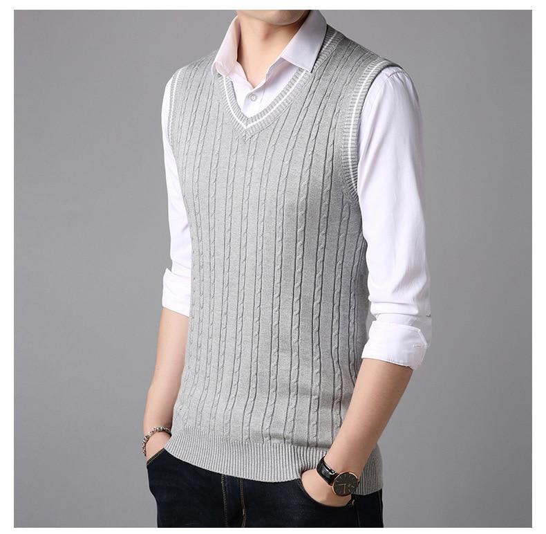 Compre # 1319 Otoño Patrón Hombres Suéteres Chaleco Moda Coreano ...