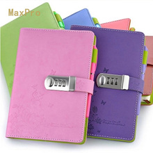 2016 Lock Password Diary Books Notebook Vintage Creative Pu Leather Travel Journal Women/Men Personal Sketchbook Notepad CC(China)