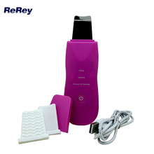 New Portable Ultrasonic Skin Scrubber Facial Exfoliator Peeling Machine Ultrasound Galvanic Therapy Facial Massager Care Device(China)