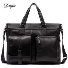 DANJUE Fashion Men Handbag Solid Color Business Briefcase High Quality Genuine Leather Laptop Bag Male Trendy Tote Men Leisure