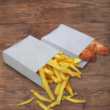 11*4*16cm White Greaseproof Party Kraft Paper Food Packaging Bag Fried Chips Pancake Bread Snack Sandwich Hamburger Pack Bag